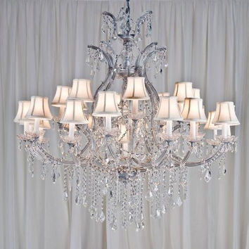 "MARIA THERESA CHANDELIER CRYSTAL CHANDELIERS LIGHTING H52"" X W46"" WITH SHADES! - A83-WHITESHADES/SILVER/52/2MT/24+1 GTC"