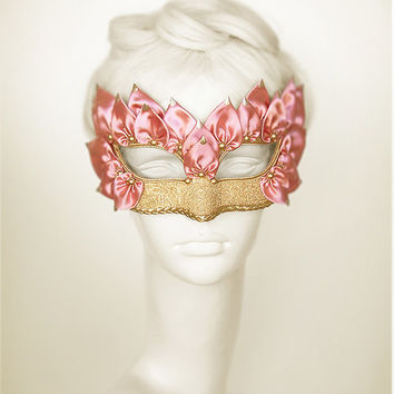 Pink & Gold Masquerade Mask With Satin Leaves - Venetian Style Embellished Pink Masquerade Ball Mask - For Prom, Costume Party, Wedding