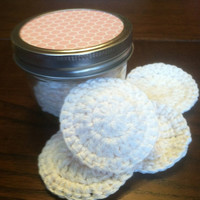 Special Edition Facial Rounds Gift Set in Mason Jar, Cotton Face Scrubbies, Reusable Makeup Pads, Cream, Off-White, Crocheted Face Rounds