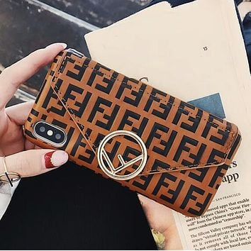 FENDI Hot Sale Popular Women Men Leather Card Mobile Phone Cover Case For iphone 6 6s 6plus 6s-plus 7 7plus 8 8plus X Brown
