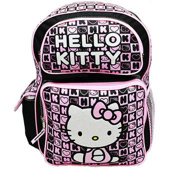 "Sanrio Hello Kitty Backpack - 16"" Large Pink/Black Hearts Girls School Book Bag"