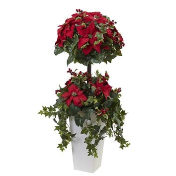 Artificial Tree -4 Foot Poinsettia Berry Topiary Tree Decorative Planter