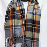 Gray and Orange Wool Men's Scarf, Gray and Orange Scarf, Plaid Gray and Orange Scarf - KR1411085