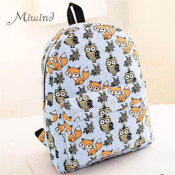 2016 Backpack for Teenagers Girls Cartoon Owl Fox Boy Student Shoulder Bag Travel Satchel Canvas Casual Women Laptop Brand Male