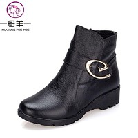 2017 Winter Shoes Woman Genuine Leather Snow Boots New Fashion Casual Wedges Ankle Boots Women Warm Shoes Women Boots