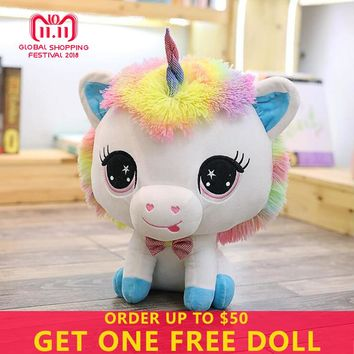 Plush Toys 35CM Unicorn Animals Horse Cartoon Party Christmas Gifts Toys For Children Big Eyes Stuffed Kids Toys