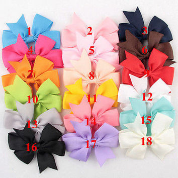18 Pcs/Bag Hair Bows Kids Cloth Ribbon Boutique Lovely No Clips for Baby Girl TB