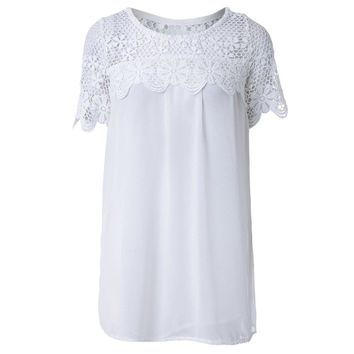 Sweet Scoop Neck Lacework Spliced Short Sleeve Chiffon Women's T-Shirt
