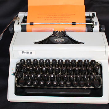 Working Typewriter Erika Vintage Office Decor Retro Writer Very Good Condition Portable Industrial With a Case