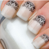 Black Lace  Nail Art Water Transfer Decal
