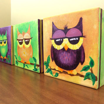 Original painting 3 WHIMSICAL OWLS Set of Three 6x6x15 by nJoyArt