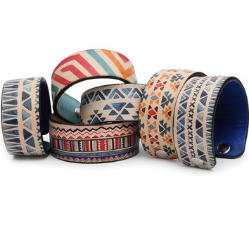 Abstract Ethnic Pattern Print Handmade Leather Bracelet Jewelry HLB_01