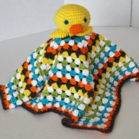 Crochet Cuddly Blanket with Stuffed Lil Duck - Kids Toy