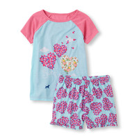 Girls Short Sleeve 'Sweet Dreams' Balloon Hearts Pajama Set | The Children's Place