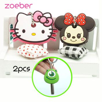 Zoeber 2PCS Anime Silicone key cover batman Key chain Cartoon hello kitty batman Mario cute key cap key Ring Keychain for women
