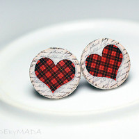 Checkered Hearts Post Earrings Christmas Jewelry red white, Gift for her under 15