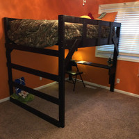 custom full size loft bed with ladder on end and desk