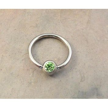 16 Gauge Light Peridot Green Cartilage Hoop Earring Tragus