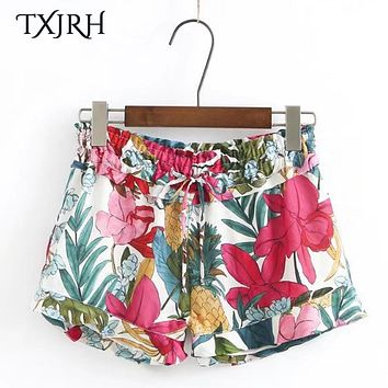TXJRH Sexy Colorful Tropical Pineapple Floral Print Shorts Tied Bow High Elastic Waist Casual Women Shorts Ruffles Hem K17-04-16