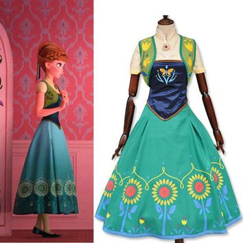 ICIKHY9 Halloween Costume for women Princess anna cosplay costume adult white snow fever party dresses movie costume girl fancy dress