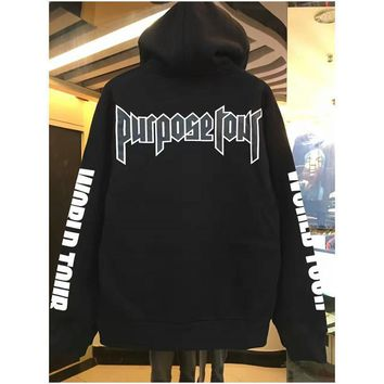 Fashion Hip hop justin bieber purpose tour sweatshirt hoodies men women pullover sportswear hoodies brand clothing high quality