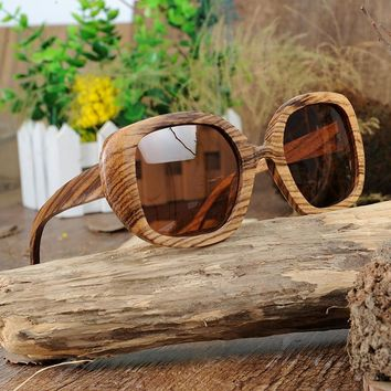 Women's Unique Large Size Frame BOBO BIRD Zebrawood Sunglasses with Brown Lenses.     ***FREE SHIPPING***