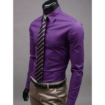 Purple Men's Long Sleeve Turn-down Collar Cotton Shirts [9221642692]