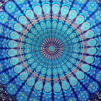Twin Indian Blue Mandala Tapestry Hippie Hippy Wall Hanging Indian bedspead Throw Bedspread Dorm tapestry