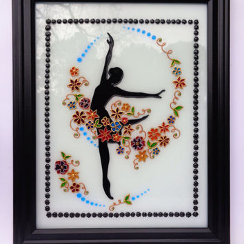 "Ballerina art 15""x12"" Glass painting Wall decor Black and white art"