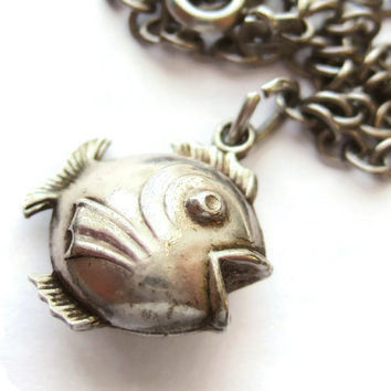 Vintage silver puffy fish charm bracelet; 800 silver charm on an 835 silver chain bracelet. #208.