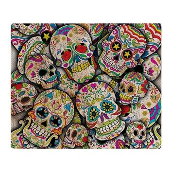 Sugar Skull Collage Soft Fleece Throw Blanket