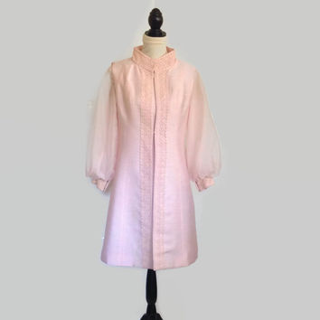 1960's Silk Shantung A-Line-Pink-Alfred Werber-Coat and Dress-Sheer Sleeves-Jackie Kennedy-Lace Trim-Mandarin Collar- Cocktail-Custom