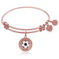 Expandable Bangle in Pink Tone Brass with Soccer Mom Symbol