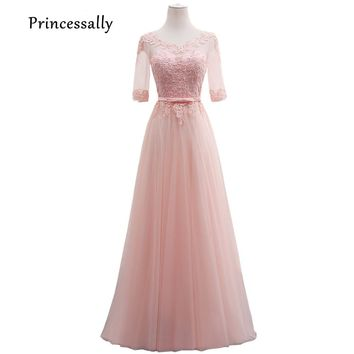 New Sweet Pink Bridesmaid Dress Floor Length Lace Half Sleeve Appliques Elegant Bride Formal Party Gown Gifts Vestido De Festa
