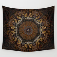 Rich Brown and Gold Textured Mandala Art Wall Tapestry by Sheila Wenzel