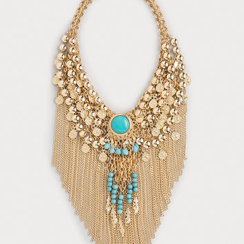 bebe Womens Bead & Fringe Necklace Turquoise Gold