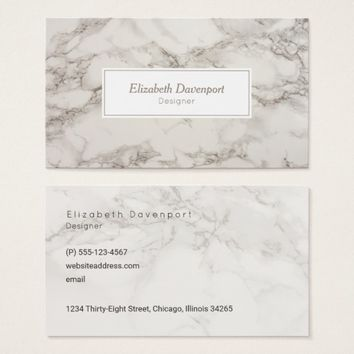 Faux Marble Alabaster Taupe Tan Modern Business Card