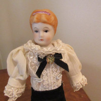 Vintage Porcelain Doll / Victorian Fashion Style Doll / Shabby Chic Doll With Stand