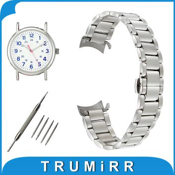 18mm 20mm 22mm Stainless Steel Watch Band for Timex Weekender Expedition Curved End Strap Butterfly Buckle Belt Wrist Bracelet