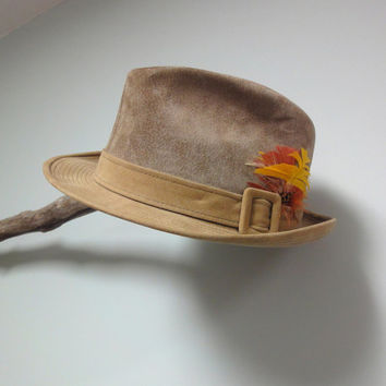 Suede Fedora Hat, Churchill Ltd. Tan Leather Hat, Resistol Hats, Size 7 1/8