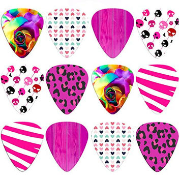 Unique Guitar Picks for Girls | Assorted 12-Pack | Girly Rainbow Rose, Cute Skulls, Pink Zebra, Purple Leopard Print, Sweet Hearts, & Wood Grain | Medium | Stylish and Modern | Celluloid