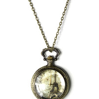 Eiffel Tower Watch Pendant Necklace Multi