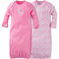 Gerber Newborn Baby Girl Lap Shoulder Gowns, 2-Pack - Walmart.com