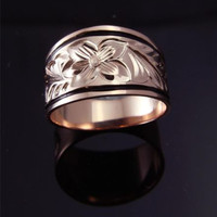 PINK ROSE SILVER 925 HAWAIIAN RING PLUMERIA SCROLL 12MM TAPER BAND BLACK BORDER