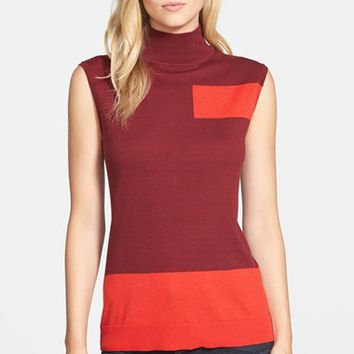 Women's Vince Camuto Colorblock Sleeveless Mock Neck Sweater,