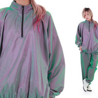 Metallic Tracksuit Green Purple Irridescent SURF STYLE Windbreaker and Warm Ups Jumpsuit Unisex Vintage Clothing Size Medium Large