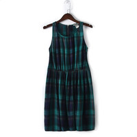 Cute Classic Holiday Check and Plaids Sleeveless Gather Waist Sundress Dress