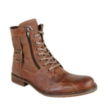 SIDECAR BRN LEATHER men's boot casual oxford - Steve Madden