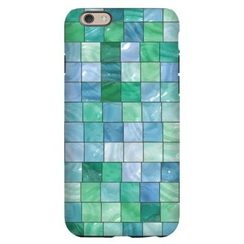 SHINY BLUE AND GREEN TILE MO IPHONE 6/6S SLIM CASE