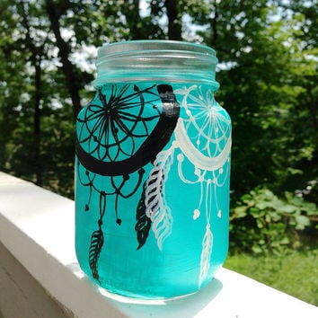 Hand painted dream catcher mason jar mug by ArianaVictoriaRose
